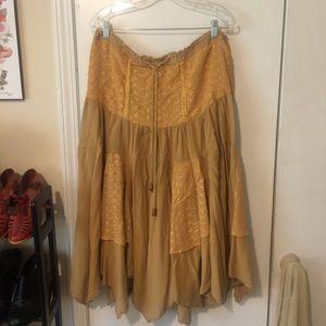 Flower child Hippie Mustard Yellow Hippy Skirt